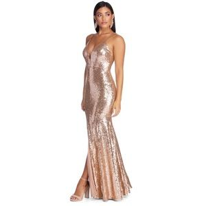 Windsor Rose Gold Sequin Sweetheart Dress